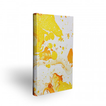 Marbled paper notebook  white, yellow, orange Ginevra - Conti Borbone - Made in Italy - spine