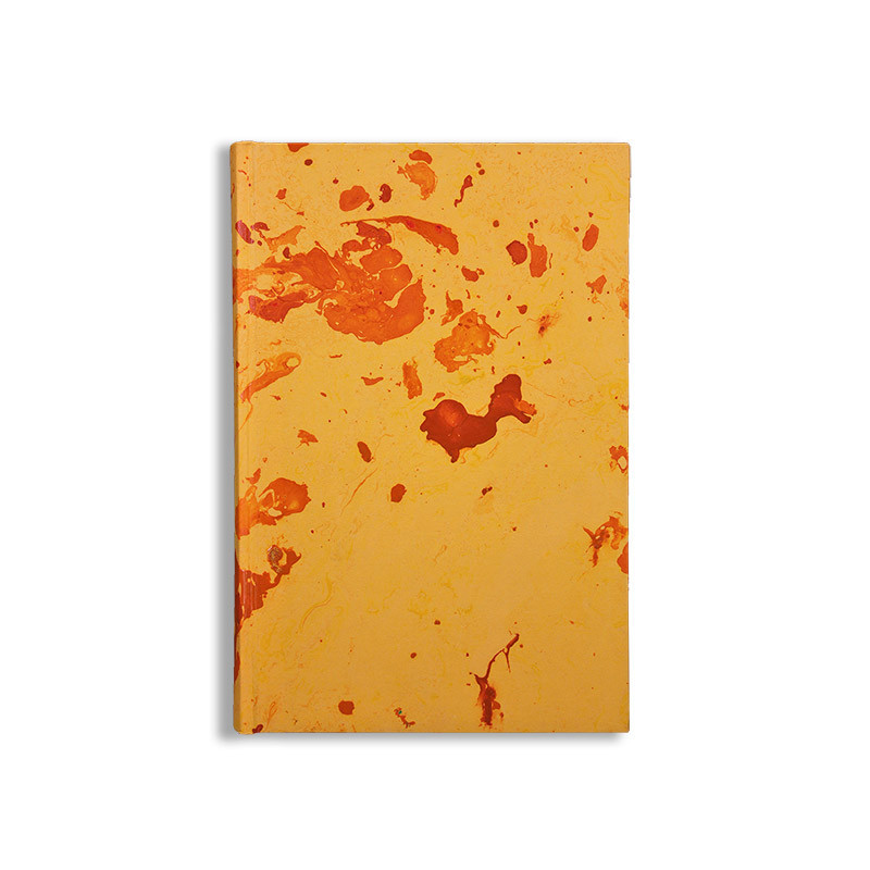 Marbled paper notebook yellow, orange Silvia - Conti Borbone - Made in Italy