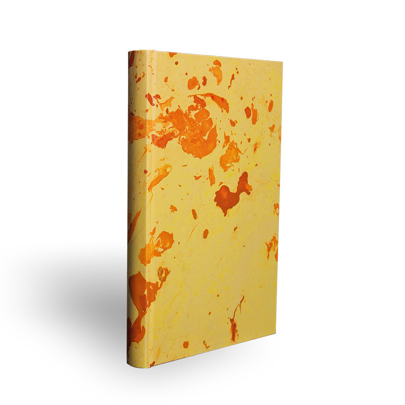 Marbled paper notebook yellow, orange Silvia - Conti Borbone - Made in Italy - spine
