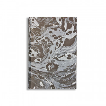 Marbled paper notebook white and black Moon - Conti Borbone - Made in Italy