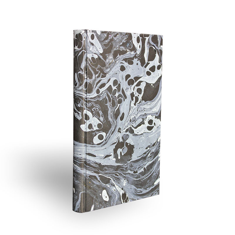 Marbled paper notebook white and black Moon - Conti Borbone - Made in Italy - spine