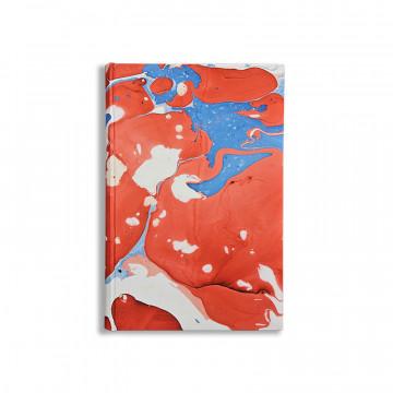 Quaderno in carta marmorizzata a mano  bianco, rosso e blu Anna - Conti Borbone - made in Italy