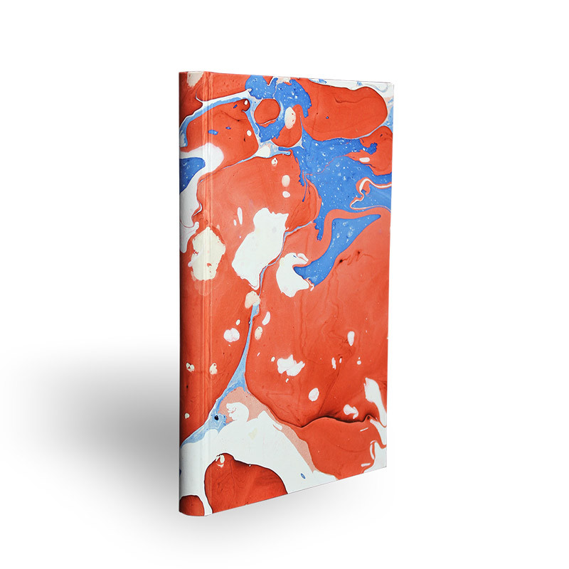 Marbled paper notebook white, blue and red Anna - Conti Borbone - Made in Italy - spine