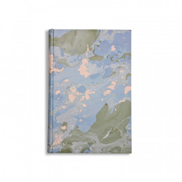 Marbled paper notebook white, blue and green Artic - Conti Borbone - Made in Italy