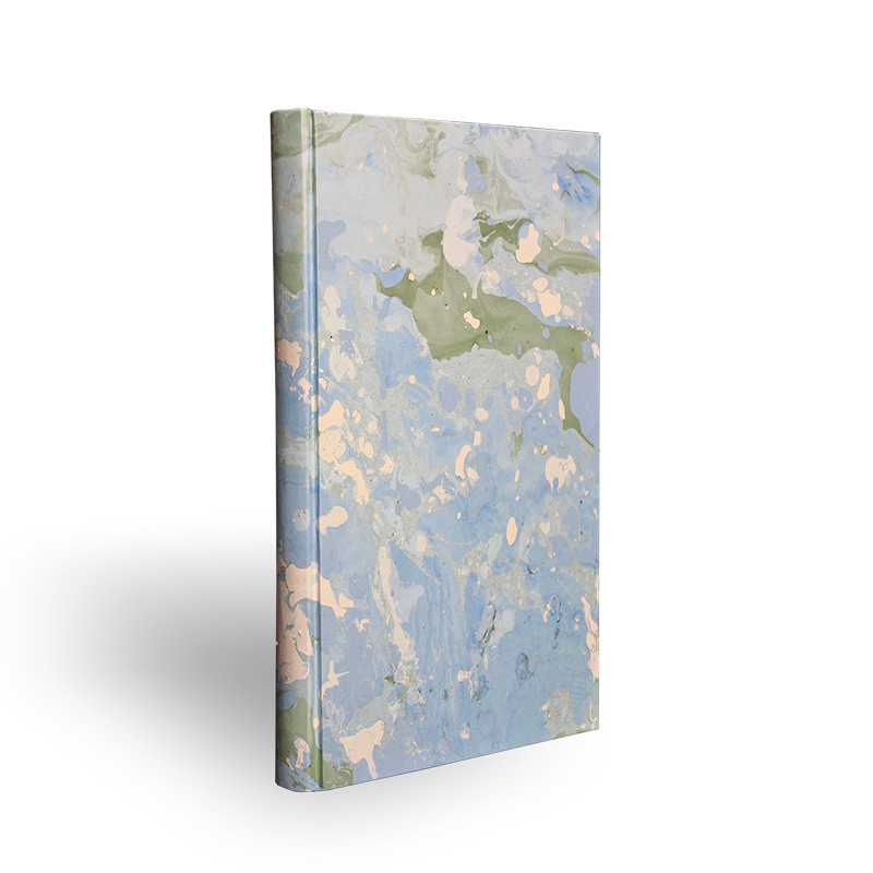 Marbled paper notebook white, blue and green Artic - Conti Borbone - Made in Italy - spine