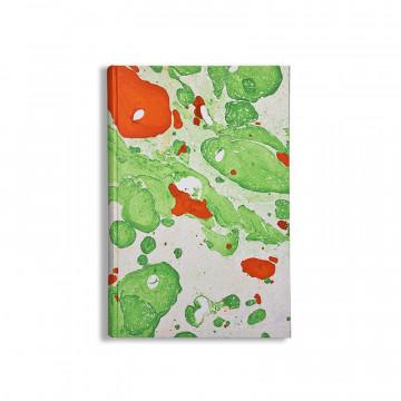 Quaderno in carta marmorizzata a mano verde, bianco e arancione Michele - Conti Borbone - made in Italy