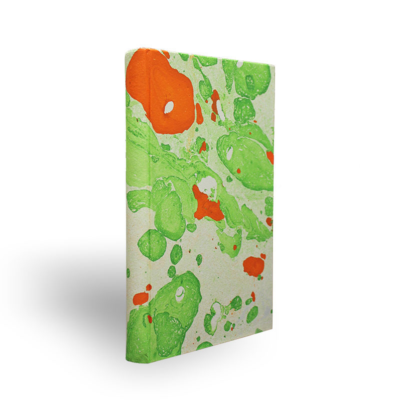 Marbled paper notebook white, orange and green Michele - Conti Borbone - Made in Italy - spine