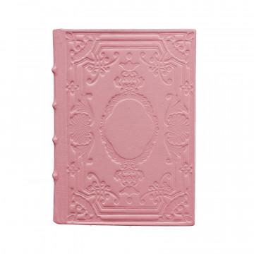 Diario in pelle Camelia colore rosa con decorazione - Conti Borbone - Milano - fronte