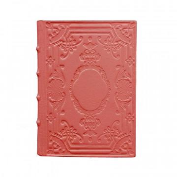 Diario in pelle Corallo colore rosa con decorazione - Conti Borbone - Milano - fronte