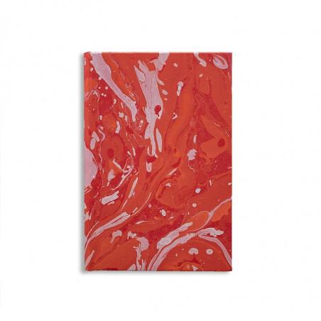 Quaderno in carta marmorizzata a mano bianco corallo rosso Amanda - Conti Borbone - made in Italy