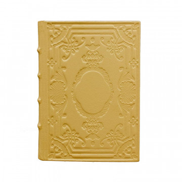 Ochre Leather diary, yellow color with decoration - Conti Borbone - Milan - made in Italy