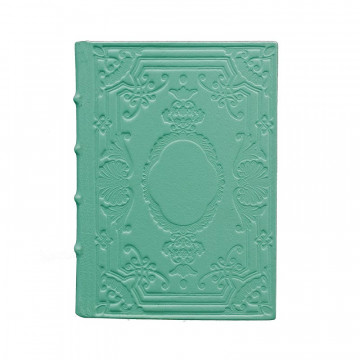 Turquoise Leather diary, blue color with decoration - Conti Borbone - Milan - made in Italy