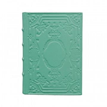 Diario in pelle Turchese colore azzurro con decorazione - Conti Borbone - Milano - fronte