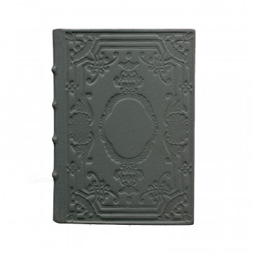 Anthracite Leather diary, gray color with decoration - Conti Borbone - Milan - made in Italy