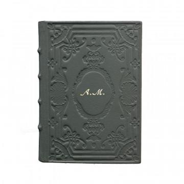 Diario in pelle Antracite colore grigio con decorazione - Conti Borbone - Milano - personalizzato corsivo