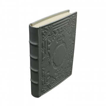 Diario in pelle Antracite colore grigio con decorazione - Conti Borbone - Milano - dorso