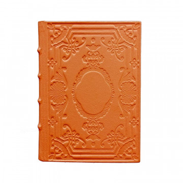 Pumpkin Leather diary, orange color with decoration - Conti Borbone - Milan - made in Italy
