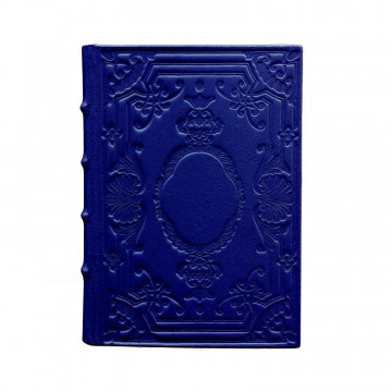 Bluette Leather diary, blue color with decoration - Conti Borbone - Milan - made in Italy