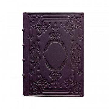 Diario in pelle Melanzana colore viola con decorazione - Conti Borbone - Milano - fronte