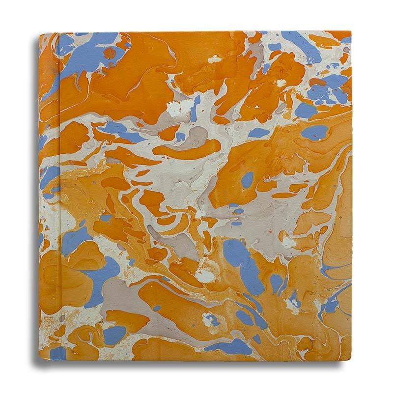 Photo album in marbled paper orange blue coral white Viviana - Conti Borbone - large
