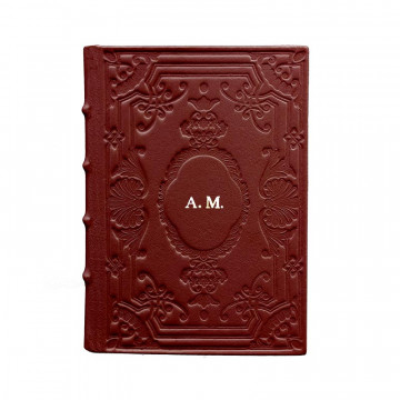 Ruby leather diary, bordeaux color with decoration - Conti Borbone - Milan - made in Italy - Block letters