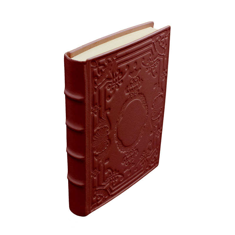 Ruby leather diary, bordeaux color with decoration - Conti Borbone - Milan - spine - made in Italy