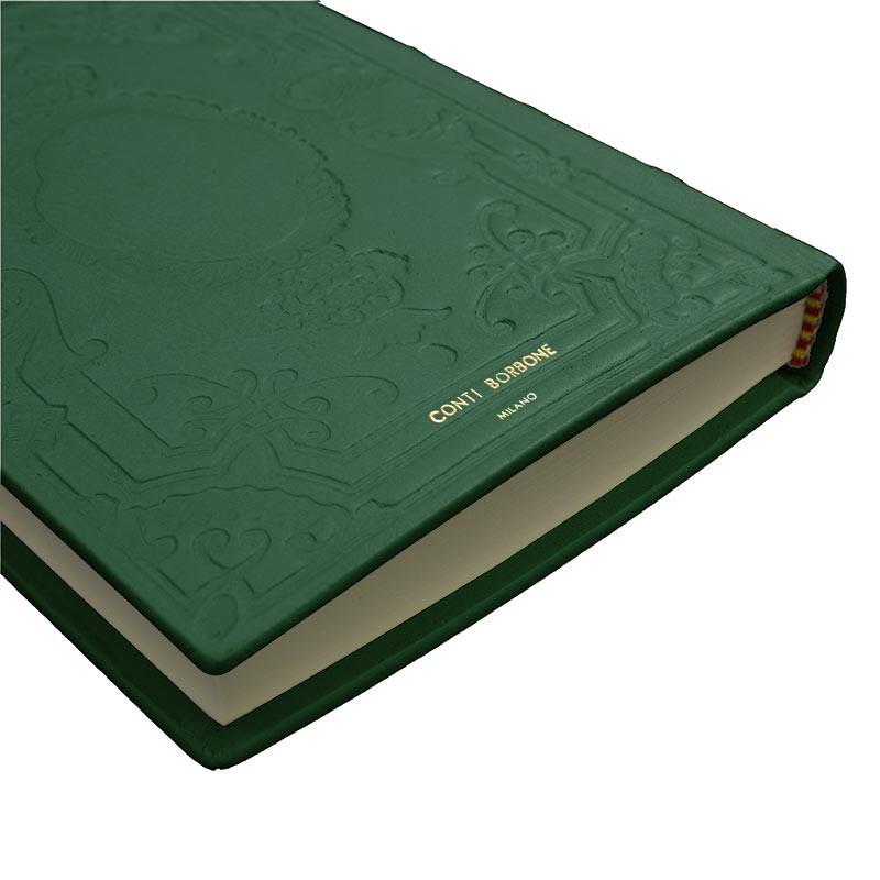 Diario in pelle Pino colore verde con decorazione - Conti Borbone - Milano - brand