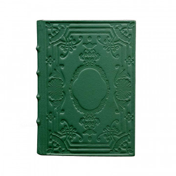 Pino leather diary, green color with decoration - Conti Borbone - Milan - made in Italy