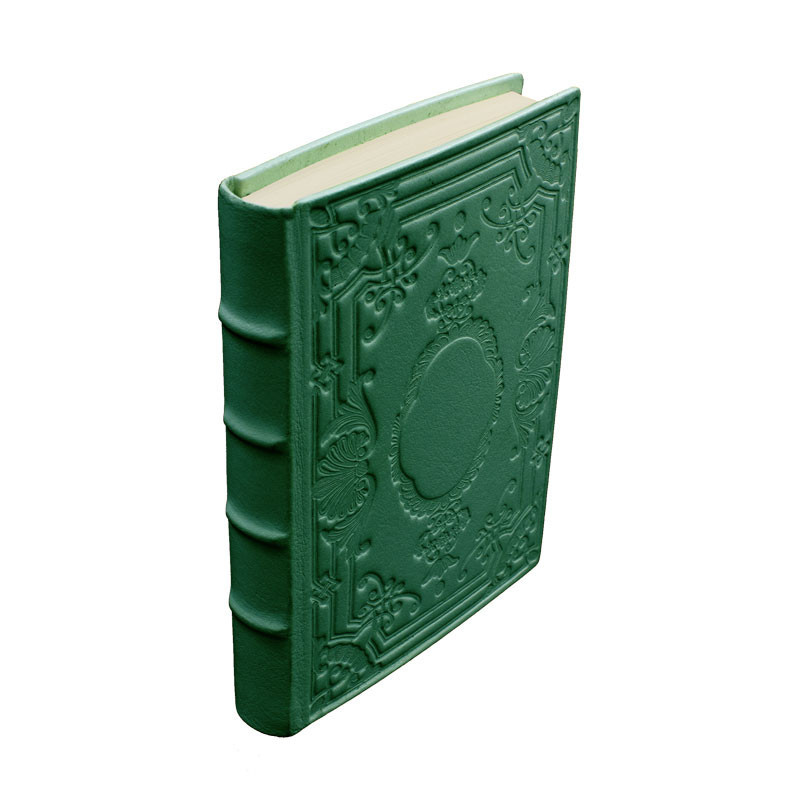 Pino leather diary, green color with decoration - Conti Borbone - Milan - made in Italy - spine