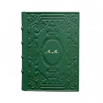 Diario in pelle Pino colore verde con decorazione - Conti Borbone - Milano - corsivo