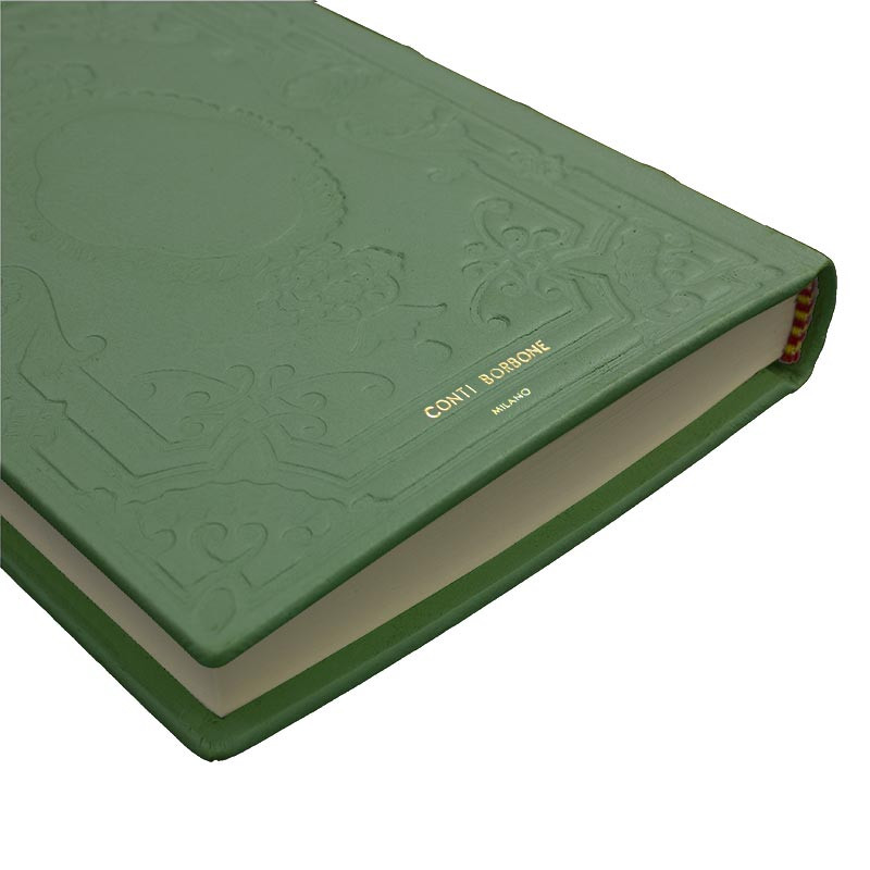 Aqua leather diary, sage color with decoration - Conti Borbone - Milan - made in Italy - Brand
