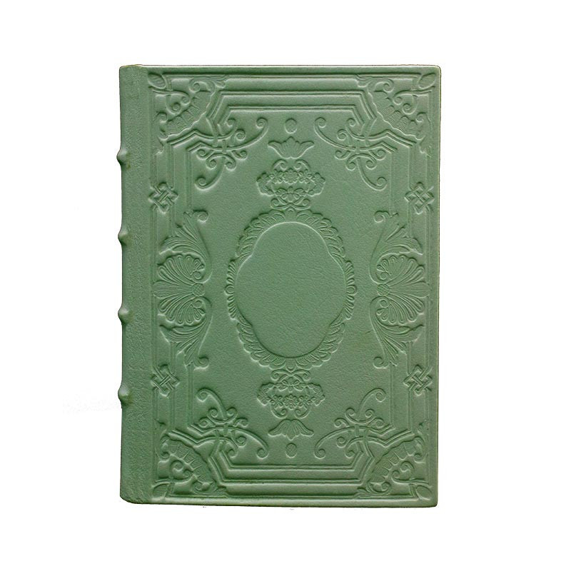 Aqua leather diary, sage color with decoration - Conti Borbone - Milan - made in Italy