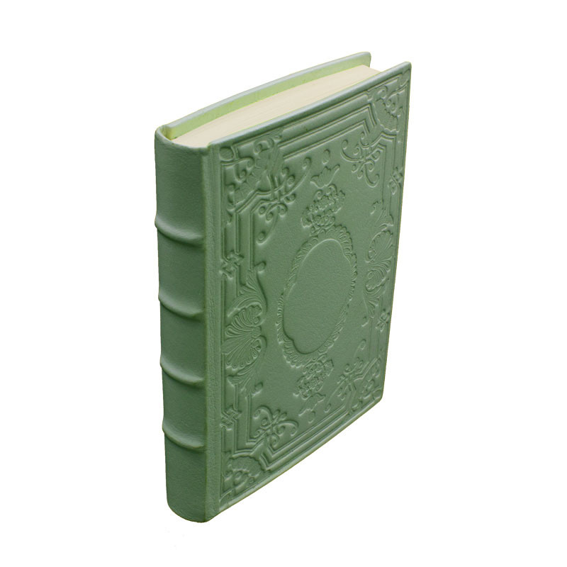 Aqua leather diary, sage color with decoration - Conti Borbone - Milan - made in Italy - Spine