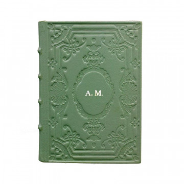 Aqua leather diary, sage color with decoration - Conti Borbone - Milan - made in Italy - Block letters