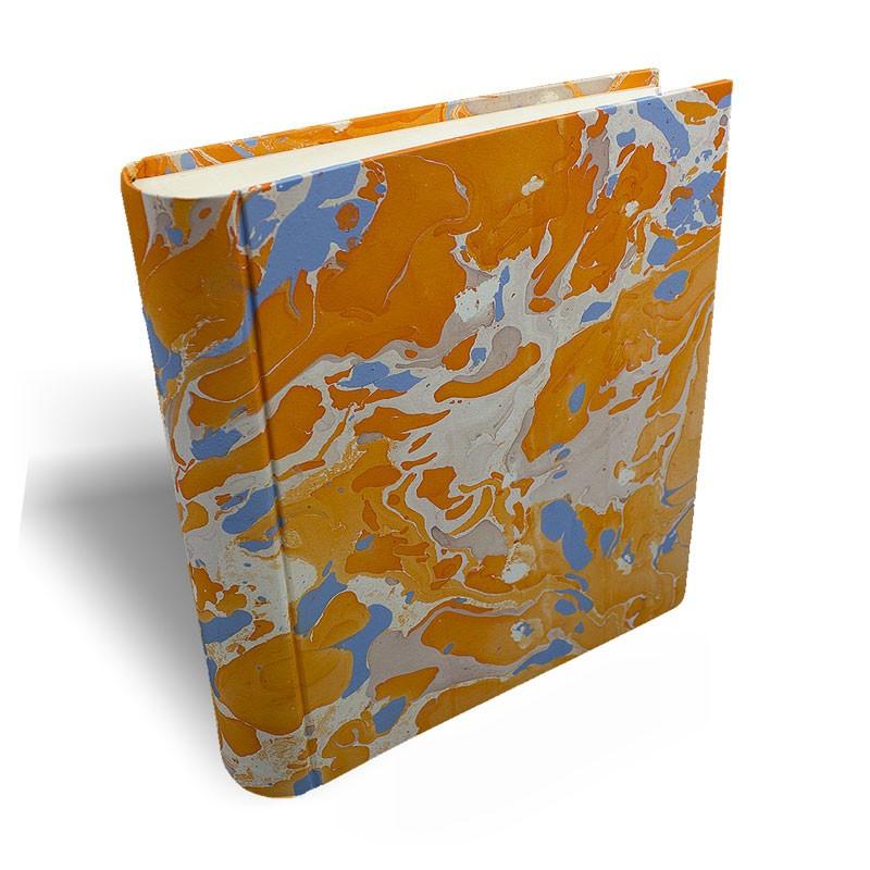 Photo album in marbled paper orange blue coral white Viviana - Conti Borbone - large prospective