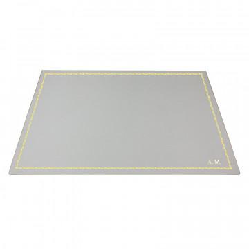 Ice leather desk pad, white calf leather - Conti Borbone - Customizable mat - decoration 90 - block letters
