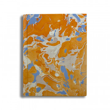 Photo album in marbled paper orange blue coral white Viviana - Conti Borbone - standard