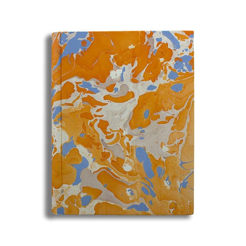 Photo album in marbled paper orange blue coral white Viviana - Conti Borbone - standard