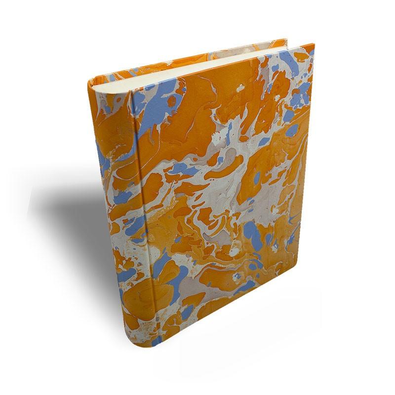 Photo album in marbled paper orange blue coral white Viviana - Conti Borbone - standard prospective