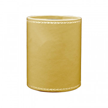 Ochre leather pen holder - Conti Borbone - Pen holder in yellow calf leather - decoration 90