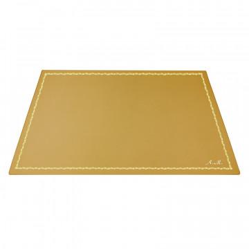 Ochre leather desk pad, yellow calf leather - Conti Borbone - Customizable mat - decoration 90 - italic