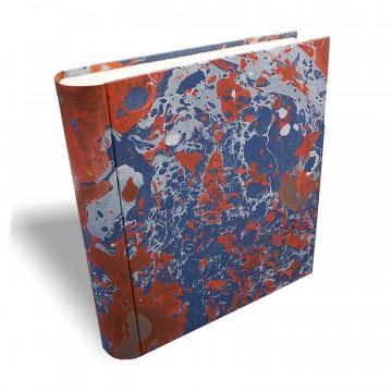 Photo album in marbled paper blue coral white Serena - Conti Borbone - large prospective