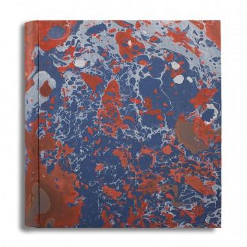 Photo album in marbled paper blue coral white Serena - Conti Borbone - large