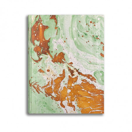 Photo album in marbled paper green brown white Veronica - Conti Borbone - standard front