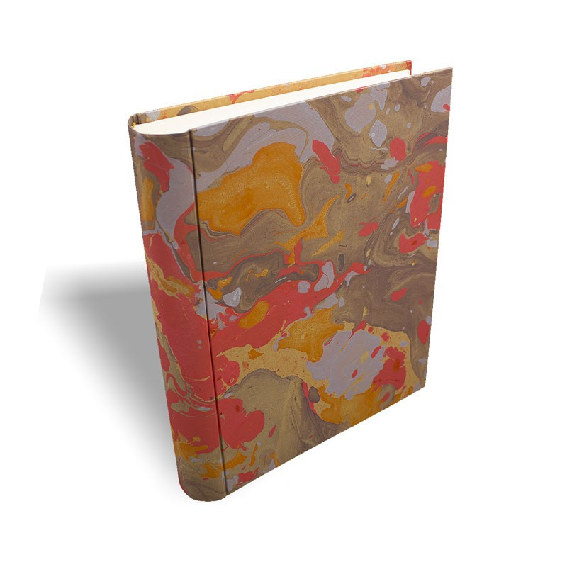 Photo album in marbled paper orange brown coral white Elisa - Conti Borbone - standard prospective