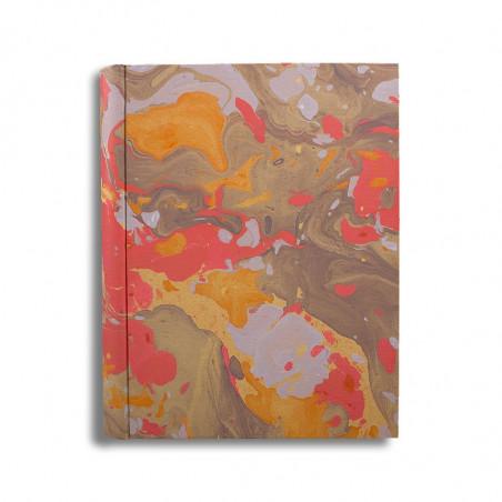 Photo album in marbled paper orange brown coral white Elisa - Conti Borbone - standard