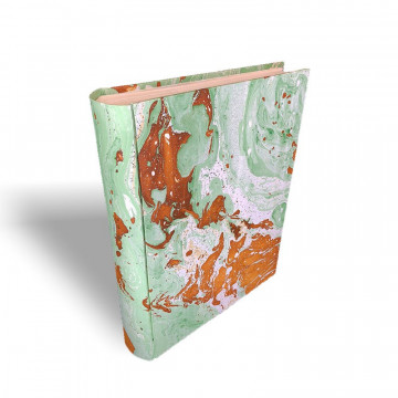 Photo album in marbled paper green brown white Veronica - Conti Borbone - standard spine