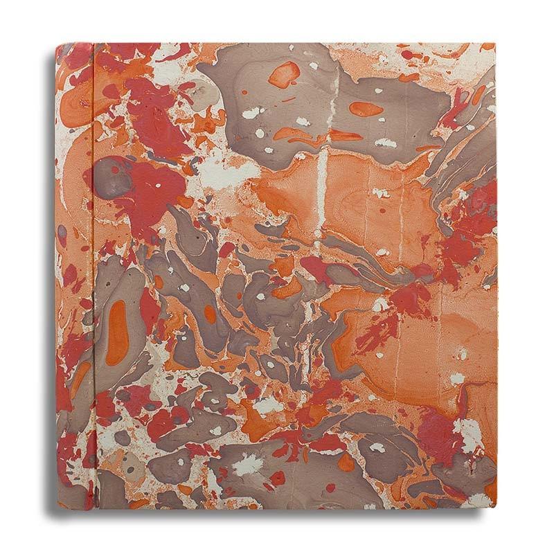 Photo album in marbled paper brown coral Filomena - Conti Borbone - large