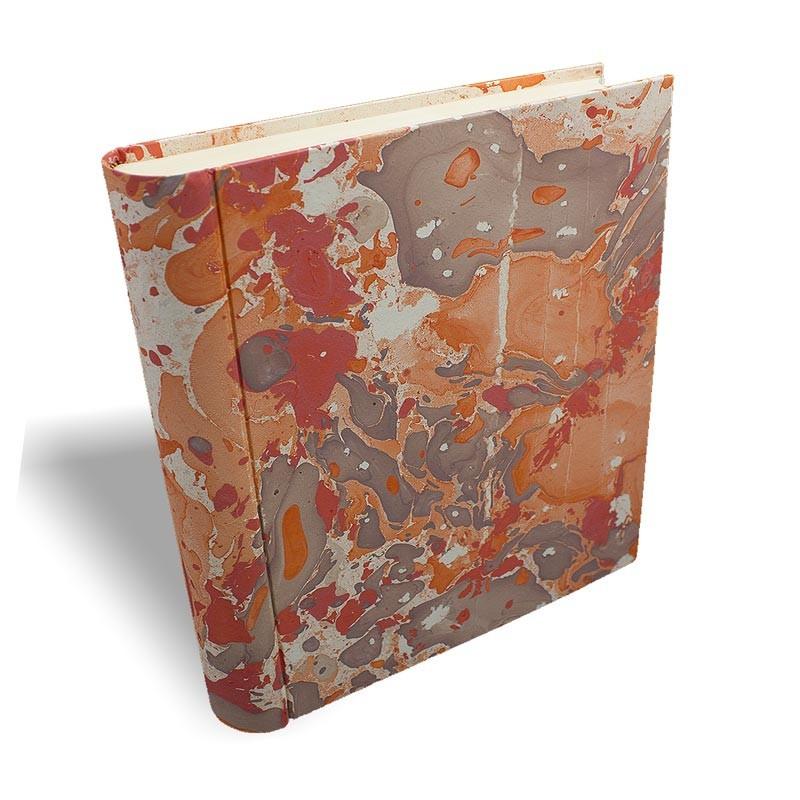Photo album in marbled paper brown coral Filomena - Conti Borbone - large prospective