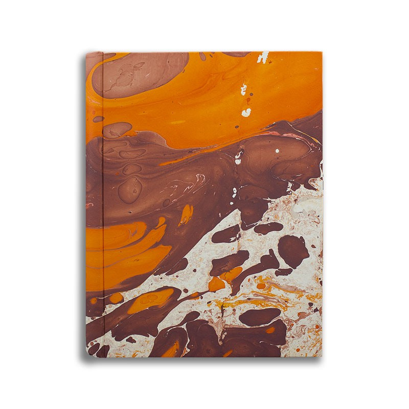 Photo album in marbled paper brown orange Merida - Conti Borbone - standard